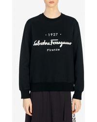 Ferragamo 1927 Signature Crewneck Sweatshirt Xs - Black