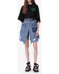 SJYP Drawstring Back Oversized Cotton T-shirt Wrtwstd_xs - Black