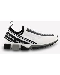 Dolce & Gabbana Sorrento Stretch-mesh Trainers With Logo Tape - White