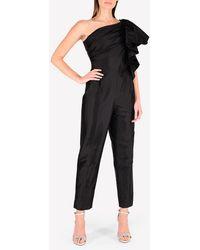 Rasario One-shoulder Silk Ruffled Sleeve Jumpsuit Wrtwfr_fr 40 - Black