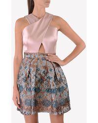 Temperley London Crossover Jacquard Dress Uk 10 - Multicolor