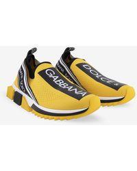 Dolce & Gabbana Sorrento Stretch Jersey Trainers With Logo - Yellow