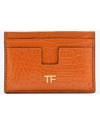 Tom Ford - Alligator Leather T Line Cardholder - Lyst