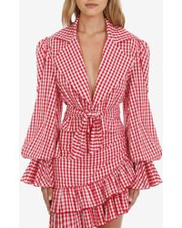 Balmain Gingham Tie-up Cotton Blouse Fr 36 - Red