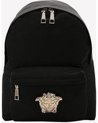 Versace Small Palazzo Nylon Backpack With Medusa Logo Plaque - Black