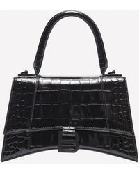 Balenciaga Xs Hourglass Top Handle Bag In Croc-embossed Calfskin - Black