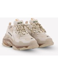 Balenciaga Triple S Clear Sole Sneakers In Leather And Mesh - White