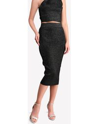 Cushnie et Ochs Metallic-knit Pencil Skirt - Black
