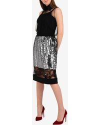 Vera Wang Lace Panel Tulle Sequin Pencil Skirt - Metallic