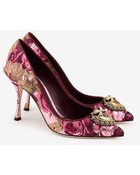 Dolce & Gabbana Lori 90 Devotion Pumps In Floral Jacquard - Pink