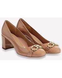 Ferragamo Garda 55 Naplak Leather Court Shoes With Gancini Embellishment - Brown
