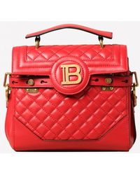 Balmain Small B-buzz 23 Quilted Leather Top Handle Bag With Logo Plaque - Red