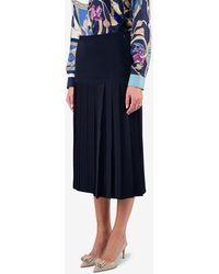 Ferragamo Silk High-waist Pleated Midi Skirt - Blue