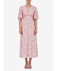 Keepsake Blaze Floral Midi Dress Wrtwstd_s - Pink
