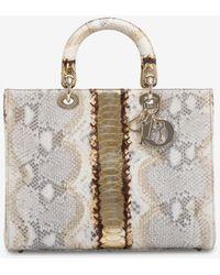 Dior Lady Large Shiny Python Leather Handbag - Natural