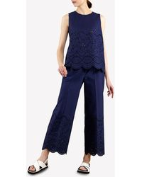 P.A.R.O.S.H. Perforated Cotton Trousers S - Blue