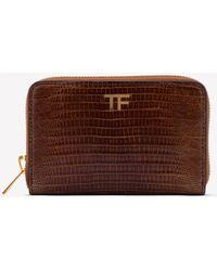 Tom Ford Lizard Skin Zip Wallet - Brown