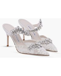 Manolo Blahnik Lurum Lace 90 Pumps With Crystal-embellished Detail - White