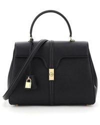Celine Medium 16 Top Handle Bag In Calfskin Onesize - Black