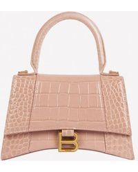 Balenciaga Small Hourglass Top Handle Bag In Croc-embossed Calfskin - Natural
