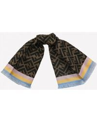Fendi Double F Two-sided Square Silk Foulard - Brown