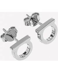 Ferragamo Gancini Stud Earrings In Brass - Metallic