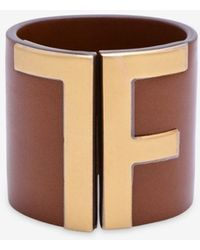 Tom Ford Leather Tf Cuff Bracelet - Brown