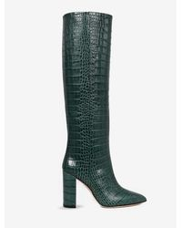 Paris Texas Knee-high 100 Boots In Croc-print Leather - Green