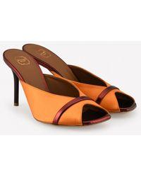 Malone Souliers Lucia 85 Satin Mules - Orange