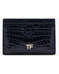Tom Ford - Shiny Alligator Leather T Line Cardholder - Lyst