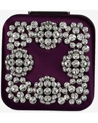Manolo Blahnik Hangi Satin Square Clutch With Crystal-embellished Buckle - Purple