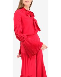 Alexis Tobit Pussy Bow Neck Silk Top With Pleated Sleeves - Red