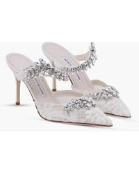Manolo Blahnik Lurum Lace 90 Court Shoes With Crystal-embellished Detail - White