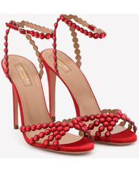 Aquazzura Tequila 105 Crystal-embellished Suede Sandals - Red