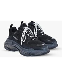 Balenciaga Triple S Clear Sole Sneakers In Mesh And Leather - Black