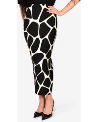 Valentino Crepe Giraffe Print Skirt With Back Inverted Pleat - Black