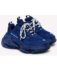 Balenciaga Triple S Airsole Leather And Mesh Trainers - Blue
