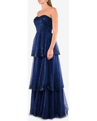 Basix Black Label Strapless Tiered Gown With Sequins Us 8 - Blue