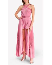 Alexis Ambra Criss-cross Neck Romper With Pleated Train - Pink