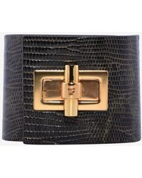 Tom Ford Lizardskin Wide Turnlock Cuff Bracelet - Black