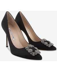 Manolo Blahnik Hangisi 105 Satin Court Shoes With Fmc Crystal-embellished Buckle - Black