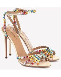 Aquazzura Tequila 105 Sandals With Multicolored Crystals - Multicolour