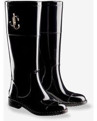 Jimmy Choo Edith Tpu Waterproof Rain Boots With Jc Logo - Black