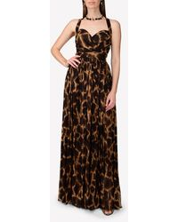 Dolce & Gabbana Long Georgette Dress With Giraffe Print - Brown