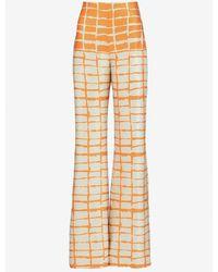Silvia Tcherassi Como High-waist Silk Pants S - Orange