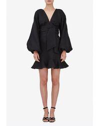 Keepsake Fallen Long Sleeves Mini Dress S - Black
