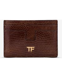 Tom Ford Lizard Leather T Cardholder - Brown