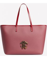 Roberto Cavalli Mirror Snake Tote Bag In Leather - Red
