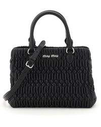 Miu Miu - Quilted Crystal Cloqué Top Handle Bag In Nappa Leather Onesize - Lyst
