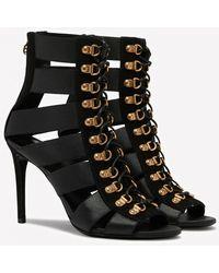 Balmain Lindsay 110 Suede Gladiator Sandals - Black